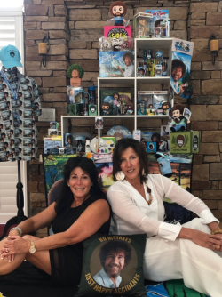 Cynthia & Pam with Bob Ross Merchandise